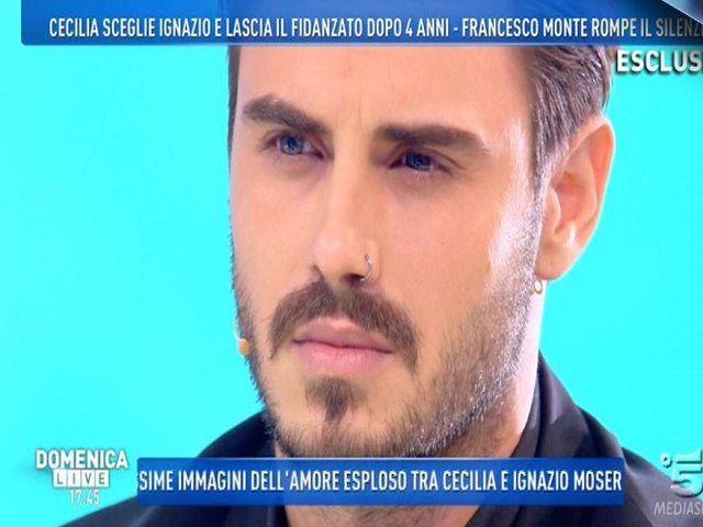 """Francesco Monte parla di Cecilia a Domenica Live: """"la amo, ma non sono ancora pronto a perdonarla"""""""
