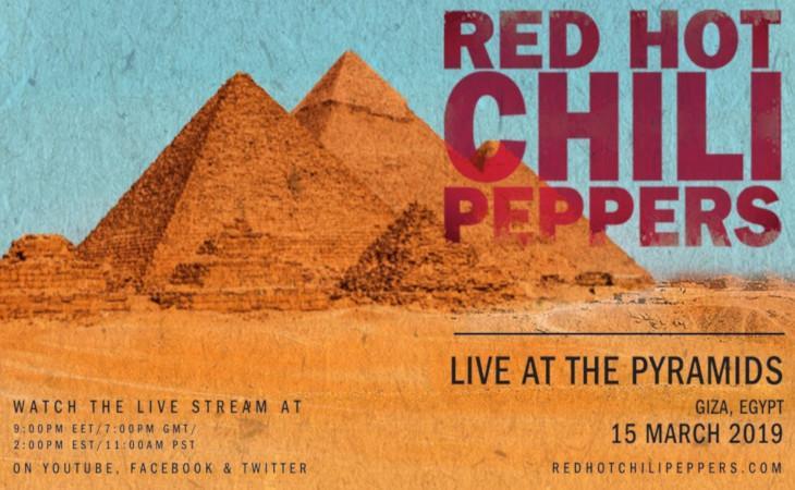 Red Hot Chili Peppers live alle piramidi di Giza: diretta streaming internazionale il 15 marzo
