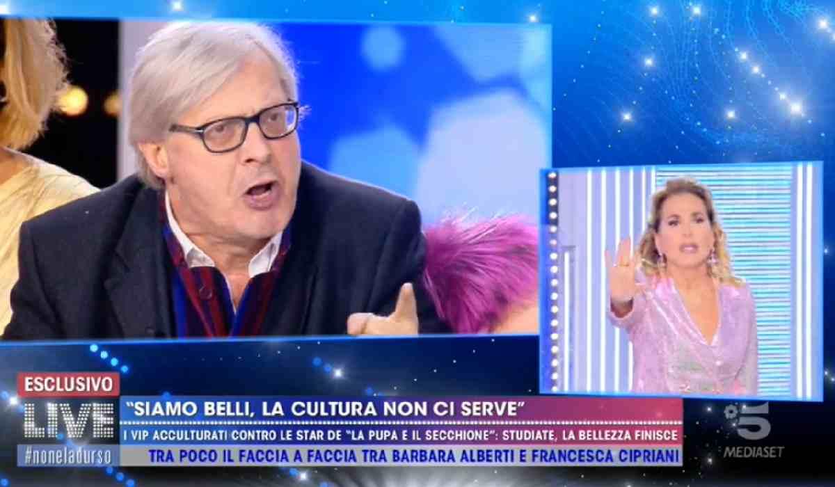 Live-Non è la d'Urso, lite Barbara d'Urso e Vittorio Sgarbi