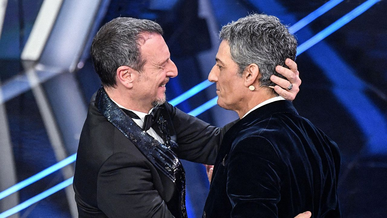 Amadeus con Fiorello a Sanremo