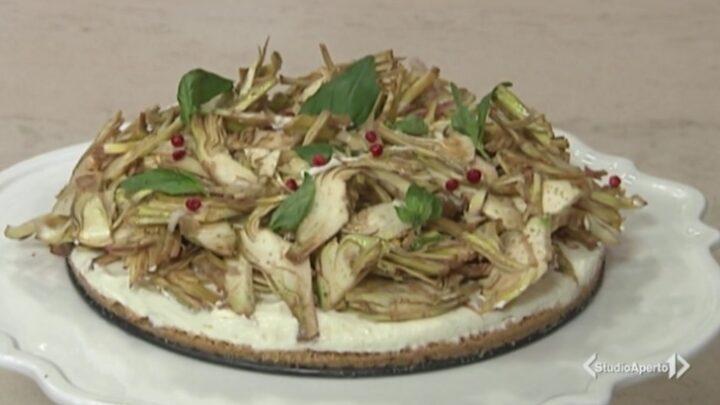 Cotto e Mangiato ricetta 15 ottobre 2020: cheesecake salata con carciofi e pepe rosa