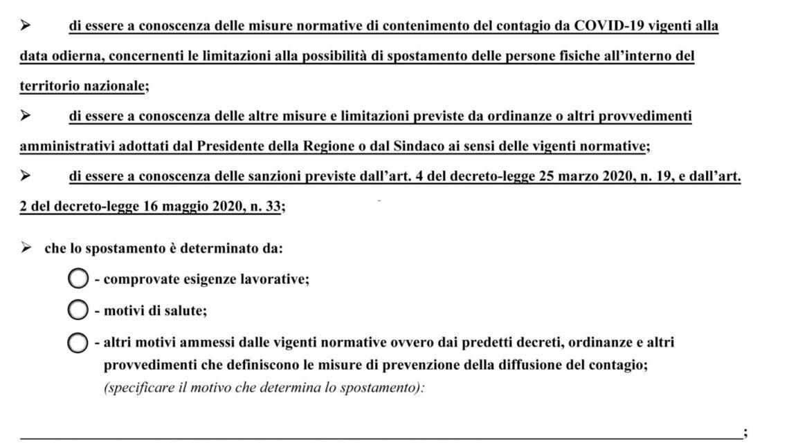 Coronavirus, la nuova autocertificazione per il Natale 2020